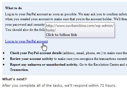 PayPal phishing link